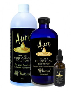 Auro Liquid Gold Water Purification Product Bottles
